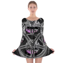 Bord Edge Wheel Tire Black Car Long Sleeve Skater Dress