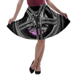 Bord Edge Wheel Tire Black Car A-line Skater Skirt