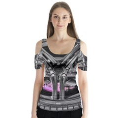 Bord Edge Wheel Tire Black Car Butterfly Sleeve Cutout Tee