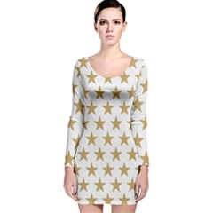 Golden stars pattern Long Sleeve Velvet Bodycon Dress