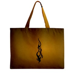 Flame black, golden background Zipper Mini Tote Bag
