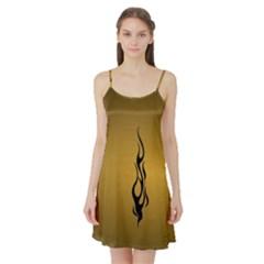 Flame black, golden background Satin Night Slip