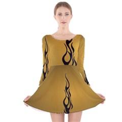 Flame black, golden background Long Sleeve Velvet Skater Dress