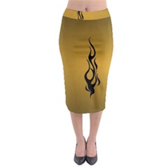 Flame black, golden background Midi Pencil Skirt