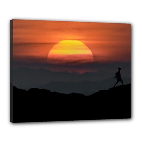 Man Walking At Mountains Landscape Illustration Canvas 20  x 16