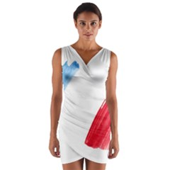 Tricolor banner france Wrap Front Bodycon Dress