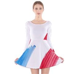 Tricolor banner france Long Sleeve Velvet Skater Dress