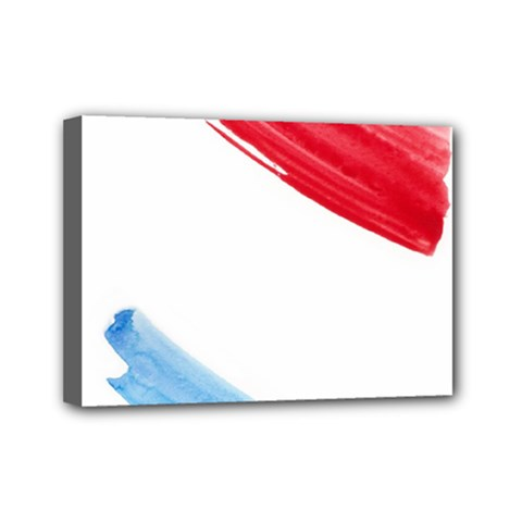 Tricolor banner watercolor painting, red blue white Mini Canvas 7  x 5