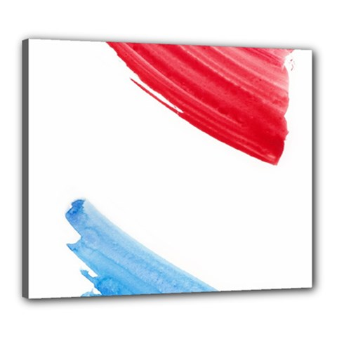 Tricolor banner watercolor painting, red blue white Canvas 24  x 20