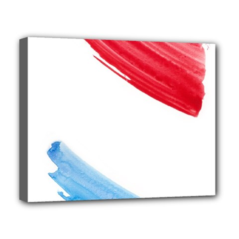Tricolor banner watercolor painting, red blue white Deluxe Canvas 20  x 16