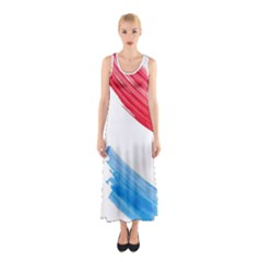 Tricolor banner watercolor painting, red blue white Sleeveless Maxi Dress