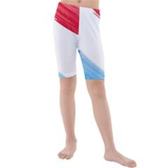 Tricolor banner watercolor painting, red blue white Kids  Mid Length Swim Shorts