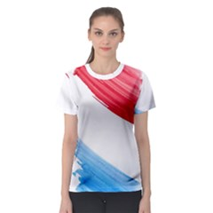 Tricolor banner watercolor painting, red blue white Women s Sport Mesh Tee