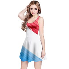 Tricolor banner watercolor painting, red blue white Reversible Sleeveless Dress