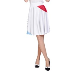 Tricolor banner watercolor painting, red blue white A-Line Skirt