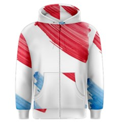 Tricolor banner watercolor painting, red blue white Men s Zipper Hoodie