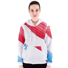 Tricolor banner watercolor painting, red blue white Women s Zipper Hoodie