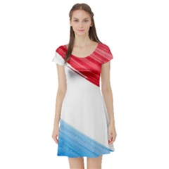 Tricolor banner watercolor painting, red blue white Short Sleeve Skater Dress