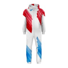 Tricolor banner watercolor painting, red blue white Hooded Jumpsuit (Kids)