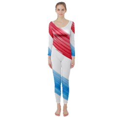 Tricolor banner watercolor painting, red blue white Long Sleeve Catsuit