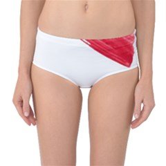 Tricolor Banner Watercolor Painting, Red Blue White Mid Waist Bikini Bottoms