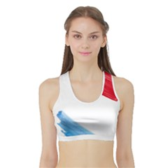 Tricolor banner watercolor painting, red blue white Sports Bra with Border
