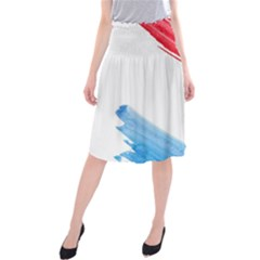 Tricolor banner watercolor painting, red blue white Midi Beach Skirt
