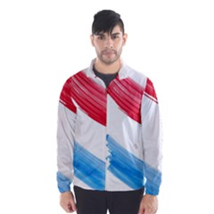 Tricolor banner watercolor painting, red blue white Wind Breaker (Men)