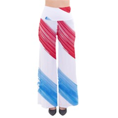 Tricolor banner watercolor painting, red blue white Pants