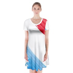 Tricolor Banner Watercolor Painting, Red Blue White Short Sleeve V Neck Flare Dress