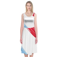 Tricolor banner watercolor painting, red blue white Midi Sleeveless Dress