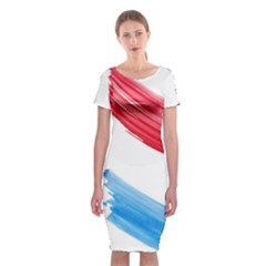 Tricolor banner watercolor painting, red blue white Classic Short Sleeve Midi Dress