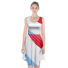 Tricolor banner watercolor painting, red blue white Racerback Midi Dress
