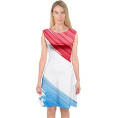 Tricolor banner watercolor painting, red blue white Capsleeve Midi Dress