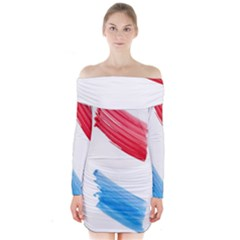 Tricolor banner watercolor painting, red blue white Long Sleeve Off Shoulder Dress