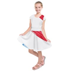 Tricolor banner watercolor painting, red blue white Kids  Short Sleeve Dress