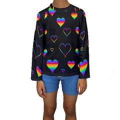 Rainbow harts Kids  Long Sleeve Swimwear