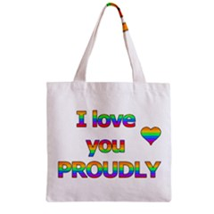 I love you proudly 2 Zipper Grocery Tote Bag