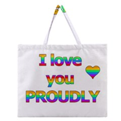 I Love You Proudly 2 Zipper Large Tote Bag