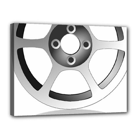 Car Wheel Chrome Rim Canvas 16  x 12