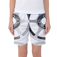 Car Wheel Chrome Rim Women s Basketball Shorts