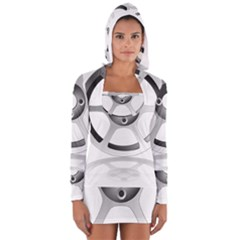 Car Wheel Chrome Rim Women s Long Sleeve Hooded T-shirt