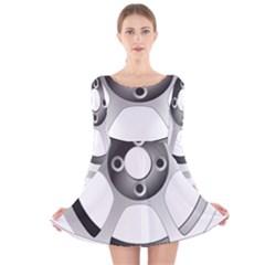 Car Wheel Chrome Rim Long Sleeve Velvet Skater Dress