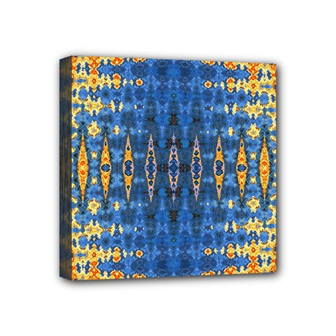 Blue And Gold Repeat Pattern Mini Canvas 4  x 4