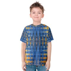 Blue And Gold Repeat Pattern Kids  Cotton Tee