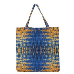 Blue And Gold Repeat Pattern Grocery Tote Bag