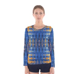 Blue And Gold Repeat Pattern Women s Long Sleeve Tee