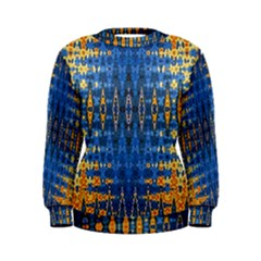 Blue And Gold Repeat Pattern Women s Sweatshirt