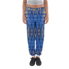 Blue And Gold Repeat Pattern Women s Jogger Sweatpants