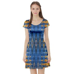 Blue And Gold Repeat Pattern Short Sleeve Skater Dress